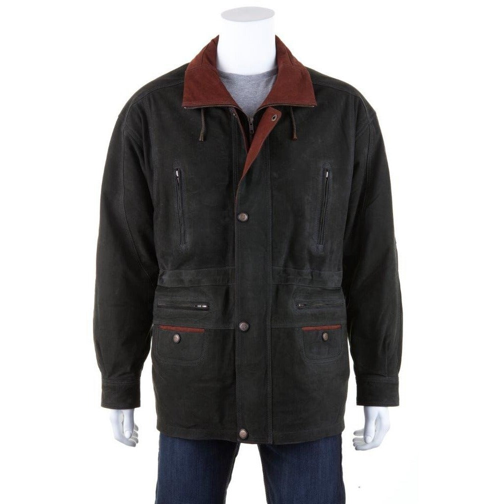 Woodland Leather Men's Leather Parka Coat-Equestrian Co.