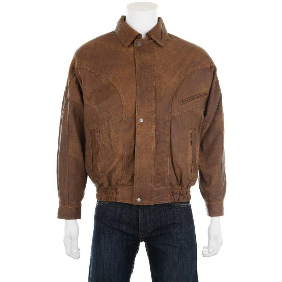 Woodland Leathers Men's Antique Look Bomber Jacket