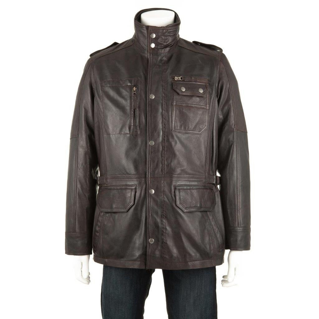 Woodland Leathers Men's Multi Patch Pocket Leather Coat