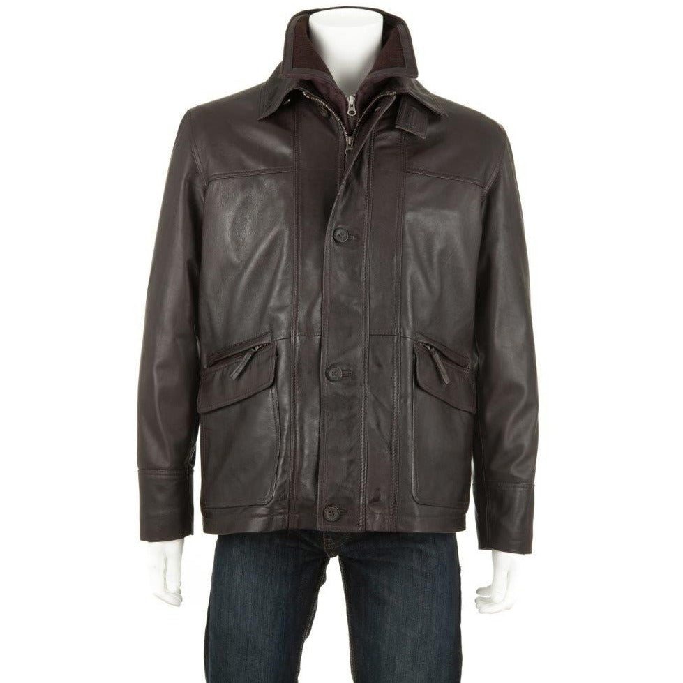 Woodland Leather Men's Ribbed Inset Collar Coat-Equestrian Co.