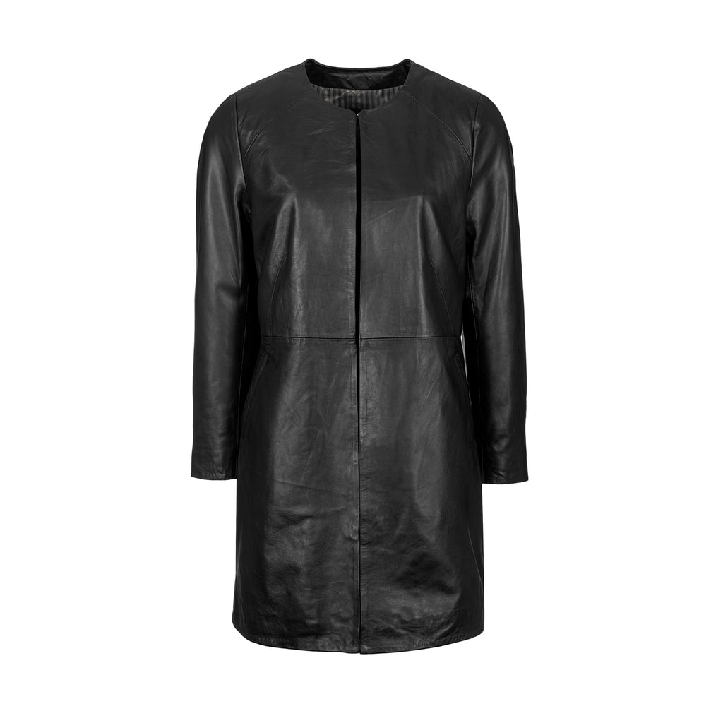 Woodland Leather Ladies' Navy / Black Collarless 3/4 Edge to Edge Coat