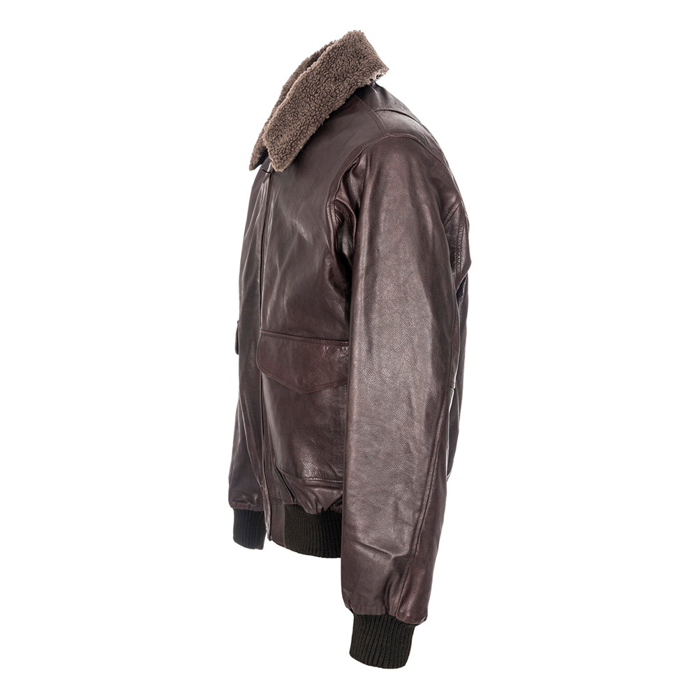 Woodland Leather Men's Waxed Burgundy Leather Aviator Jacket