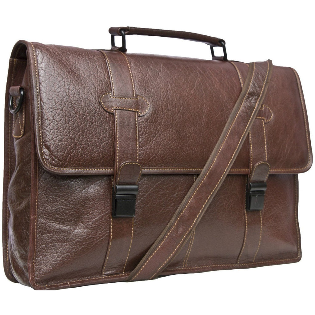 Woodland Leather Tribal Buffalo Leather Satchel Briefcase-Equestrian Co.