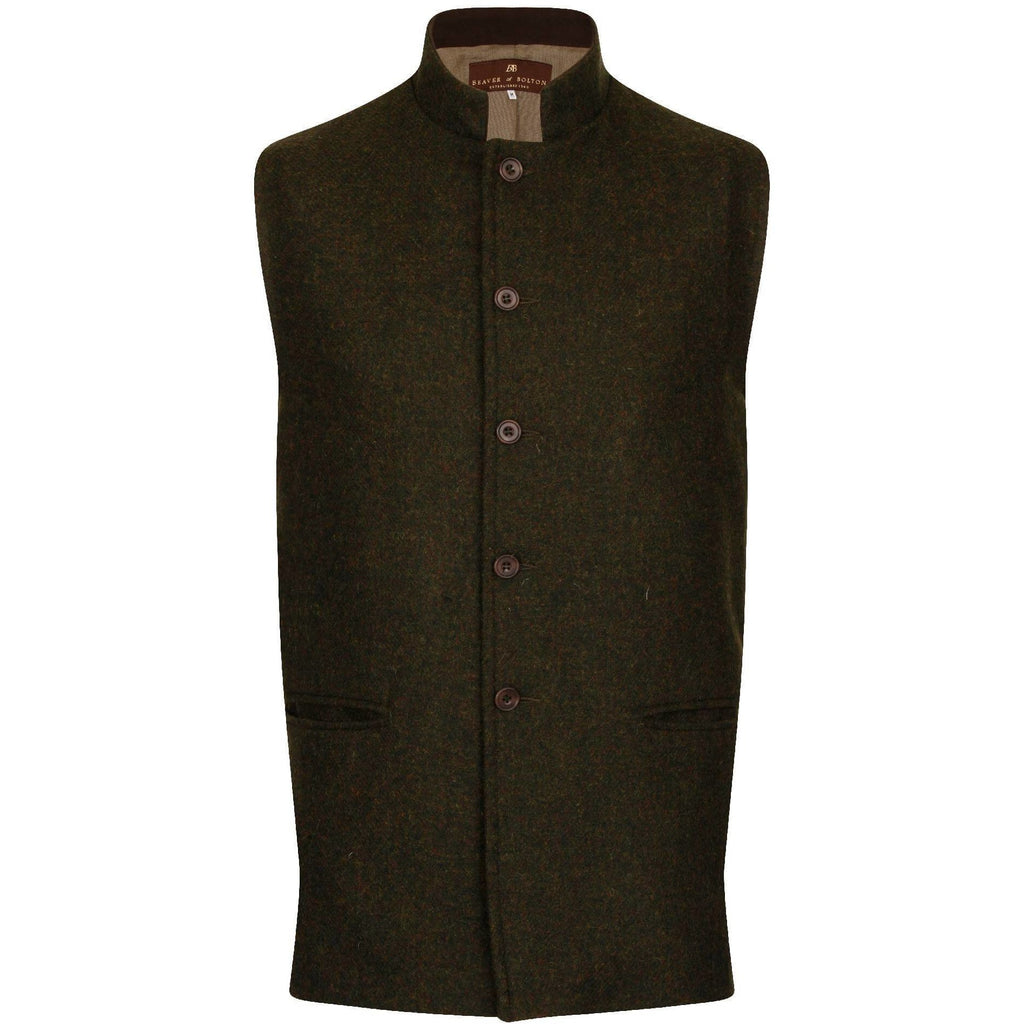 Beaver of Bolton Bespoke Men's Nehru Collar Tweed Waistcoat / Gilet-Equestrian Co.