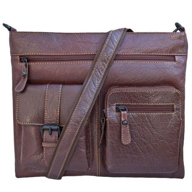 Woodland Leather Tribal Leather Cross Body Messenger Bag-Equestrian Co.