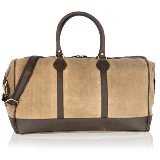 Woodland Leather Luxurious Canvas Holdall / Cabin Bag
