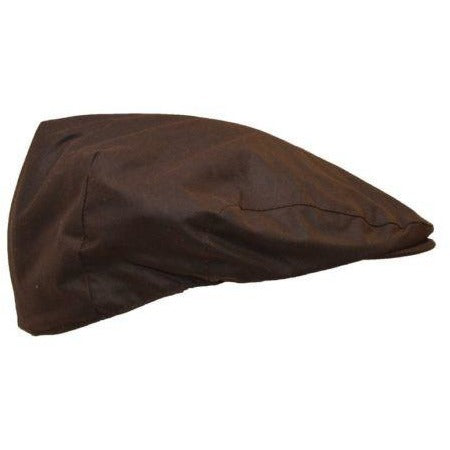 Walker & Hawkes Unisex Waterproof Brown Waxed Cotton Flat Cap