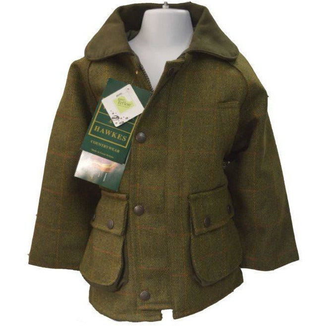 Walker & Hawkes Children's Dark Sage Shooting Tweed Country Coat