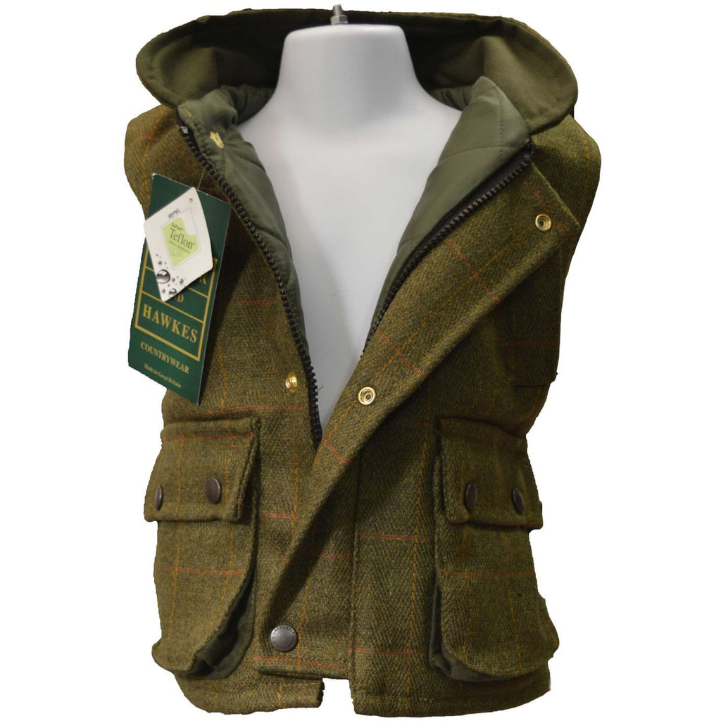 Walker & Hawkes Children's Dark Sage Tweed Shooting Gilet / Waistcoat-Equestrian Co.