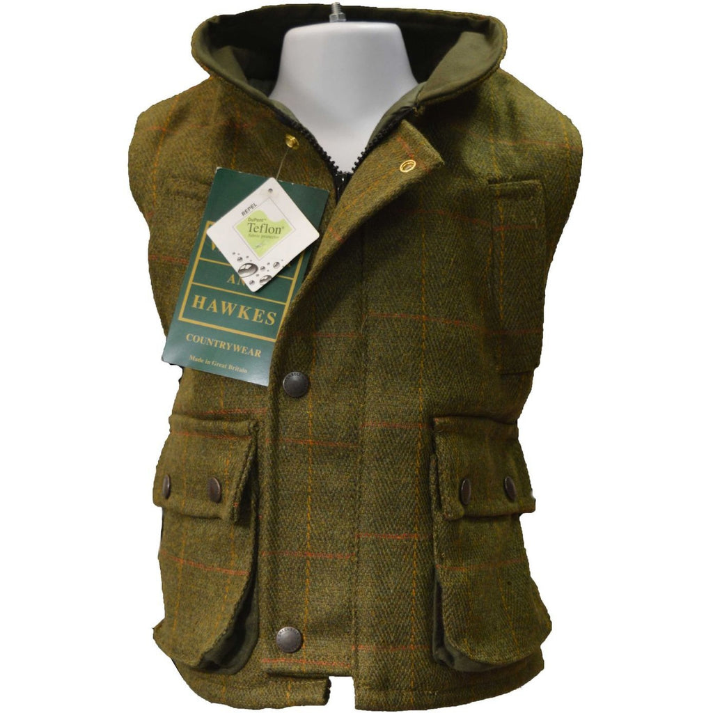 Walker & Hawkes Children's Dark Sage Tweed Shooting Gilet / Waistcoat