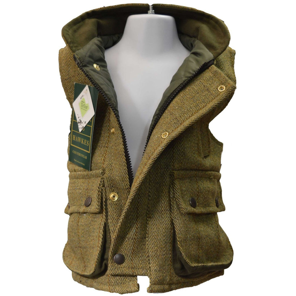Walker & Hawkes Children's Light Sage Tweed Shooting Gilet / Waistcoat-Equestrian Co.