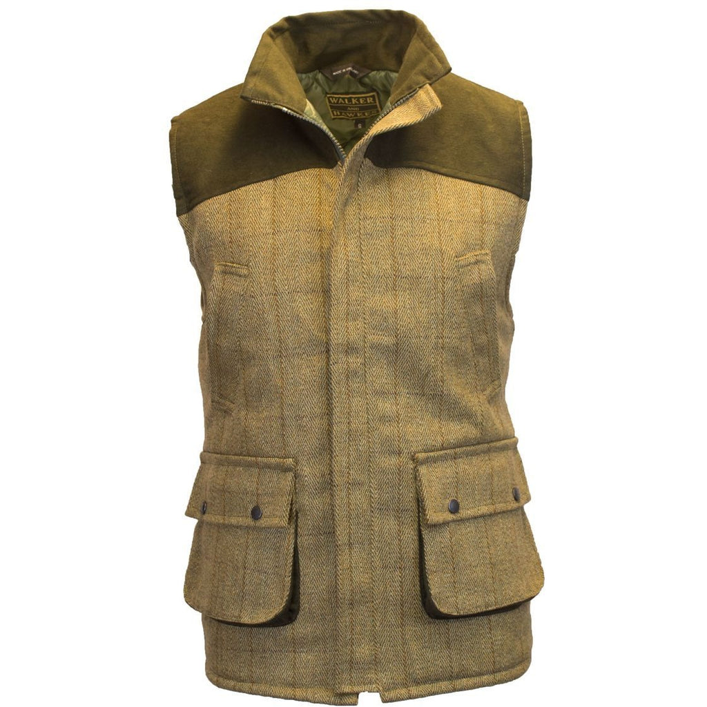 Walker & Hawkes Men's Light Tweed Shoulder Patch Waistcoat / Gilet-Equestrian Co.