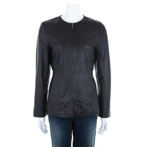 Woodland Leather Ladies' Classic Leather Collarless Jacket-Equestrian Co.