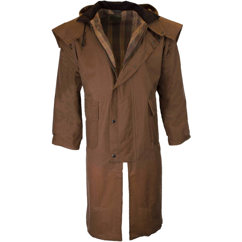 Walker & Hawkes Stockman Beige Long Wax Coat / Raincoat with Hood-Equestrian Co.
