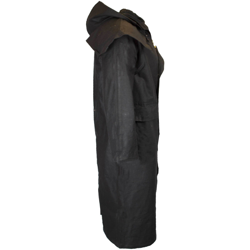 Walker & Hawkes Stockman Black Long Wax Coat / Raincoat with Hood