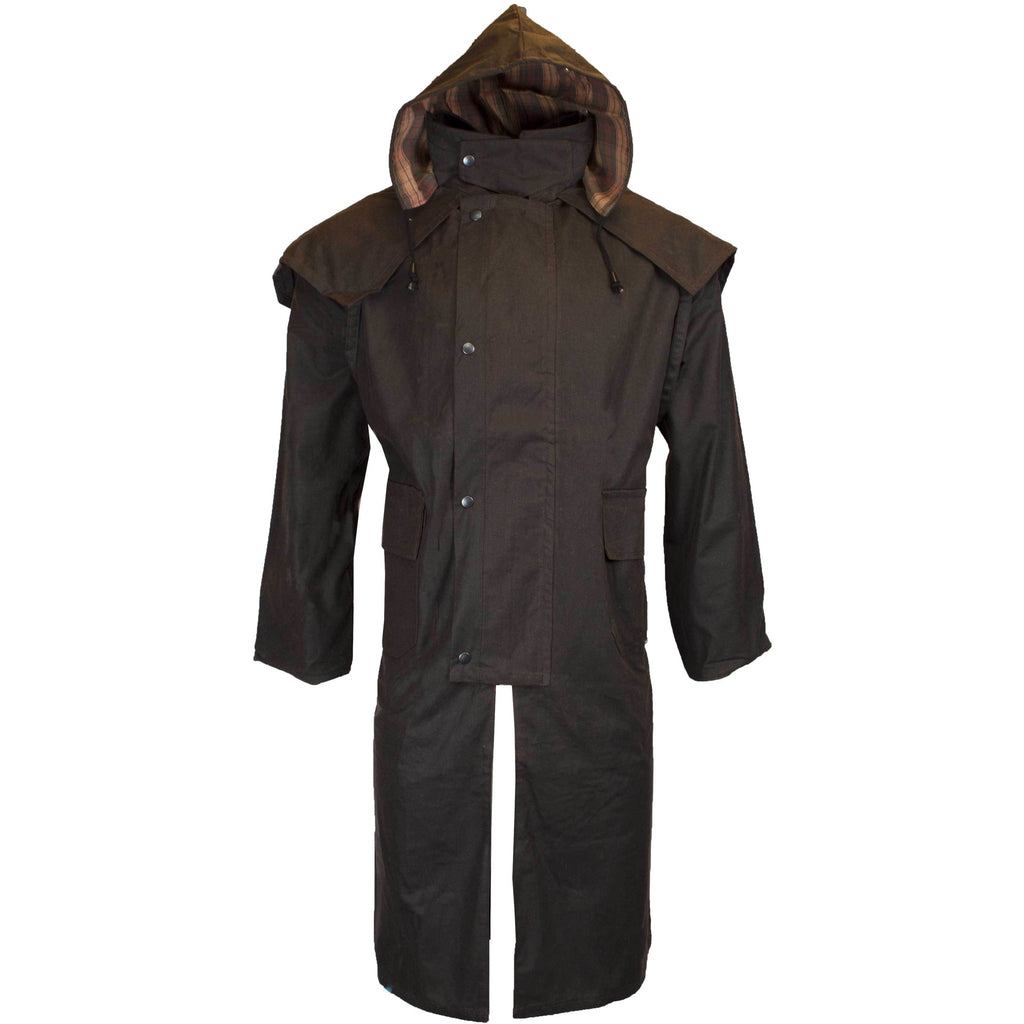 Walker & Hawkes Stockman Brown Long Wax Coat / Raincoat with Hood