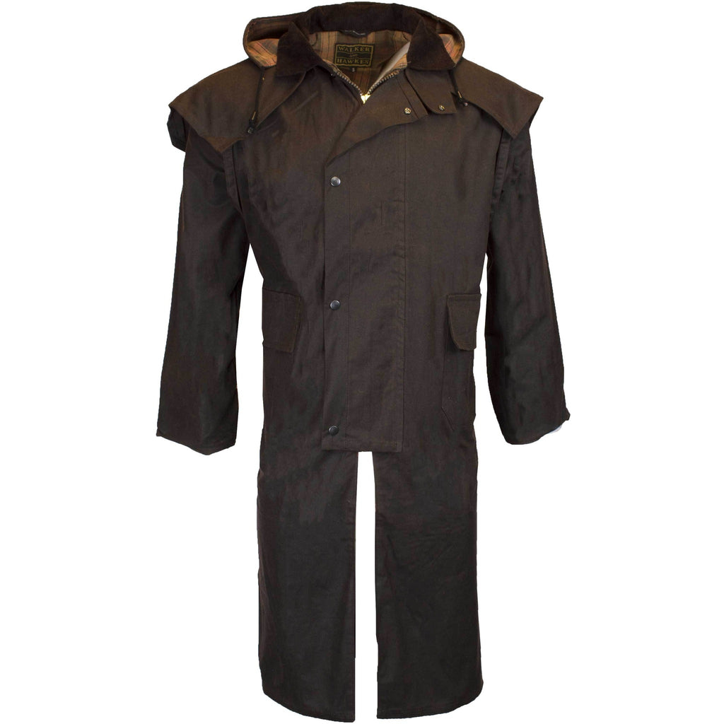 Walker & Hawkes Stockman Brown Long Wax Coat / Raincoat with Hood-Equestrian Co.