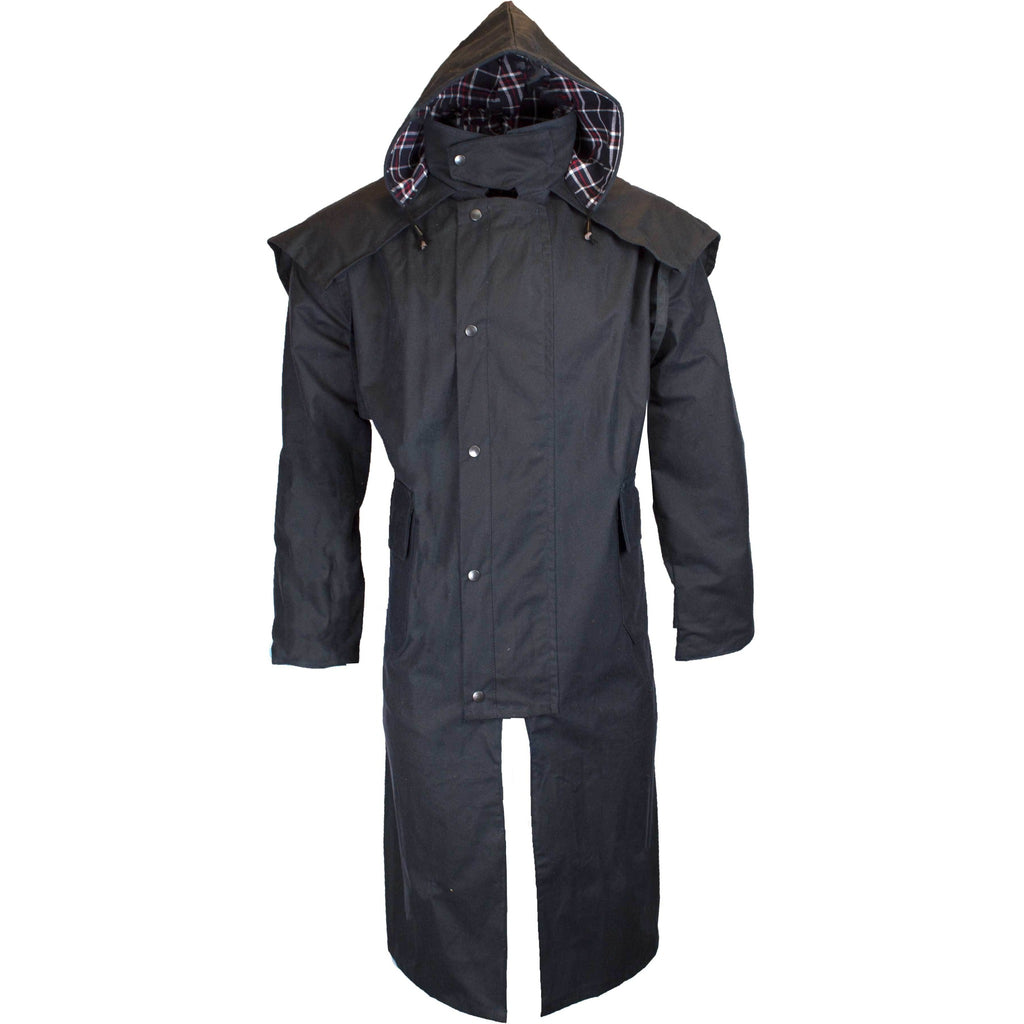 Walker & Hawkes Stockman Navy Long Wax Coat / Raincoat with Hood