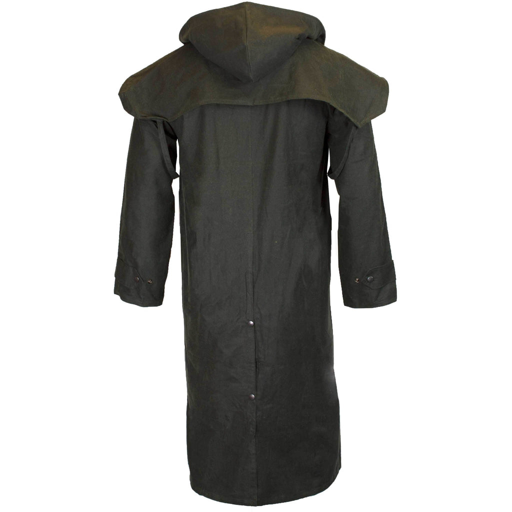 Walker & Hawkes Stockman Olive Long Wax Coat / Raincoat with Hood