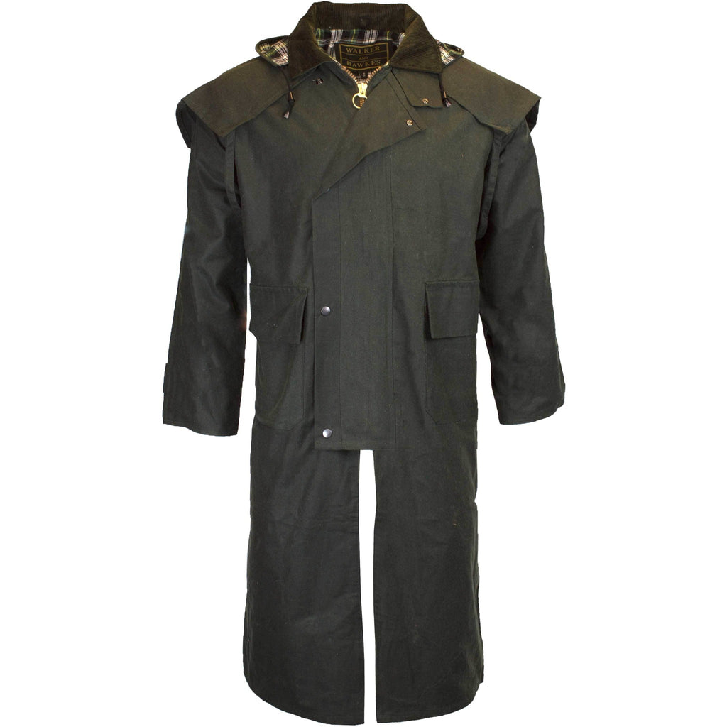 Walker & Hawkes Stockman Olive Long Wax Coat / Raincoat with Hood-Equestrian Co.
