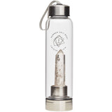 Clear Quartz Crystal Elixir - Glass Water Bottle 550ml