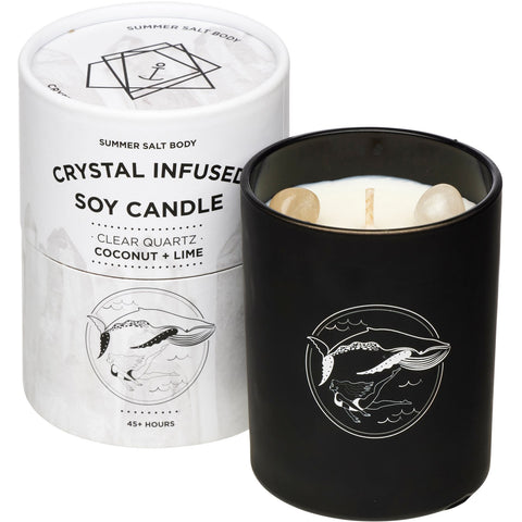 Crystal Infused Soy Candle - Clear Quartz x Coconut & Lime