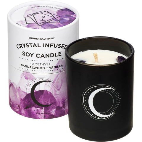 Crystal Infused Soy Candle - Amethyst x Sandalwood & Vanilla