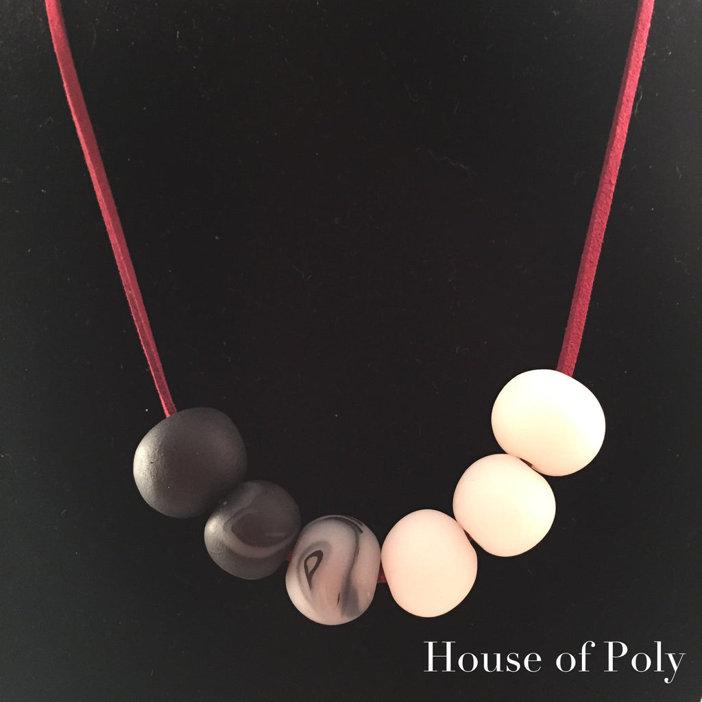 Marsala marbled black white necklace