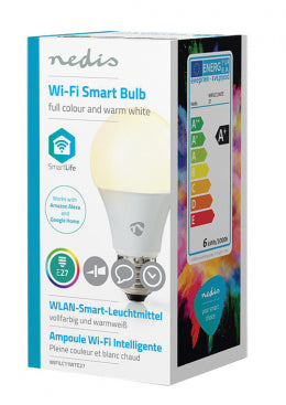 Nedis WiFi Smart LED Bulb | Full Colour and Warm White | E27 6W