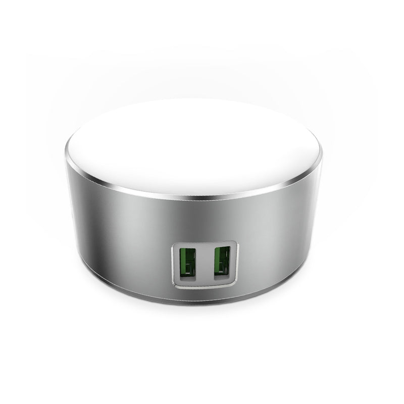 LDNIO USB Charger 2 Ports 5V/2.4A 12W with LED Lamp Silver