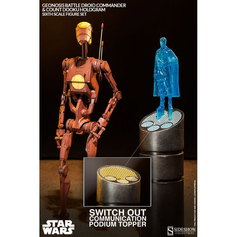 Star Wars Action Figure 1/6 Geonosis Battle Droid Commander & Count Dooku Hologram 30 cm