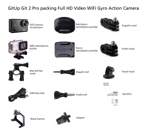 GitUp Git 2 Pro packing Full HD Video WiFi Gyro Action Camera