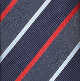 Necktie 100% Silk 7 Fold Blue Stripe