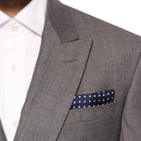 Pocket Square 100% Silk Navy Polka dots