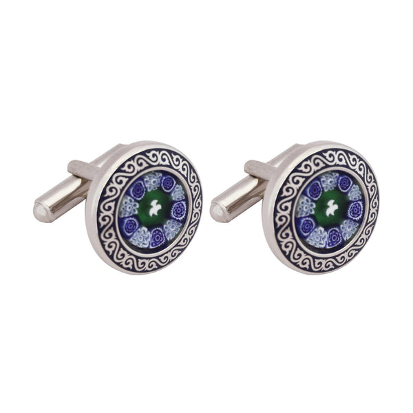 Cufflinks Italian Metal Printed Blue