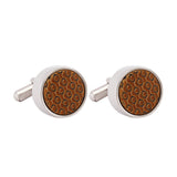 Cufflinks Italian Enamel Textured Brown