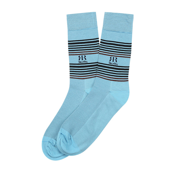 Socks Mercerised Pima Cotton Blue Stripe
