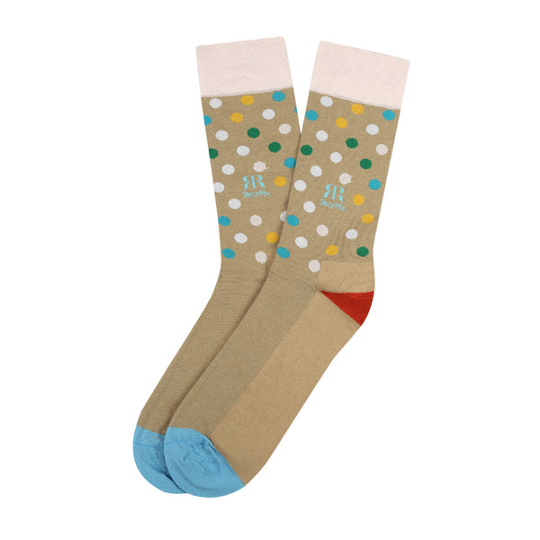 Socks Mercerised Pima Cotton Beige Polka