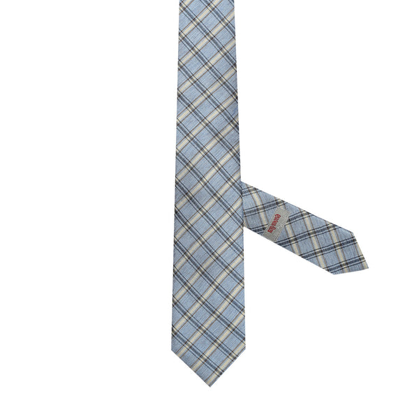 Necktie 60% Silk 40% Lin 7 Fold Blue checks