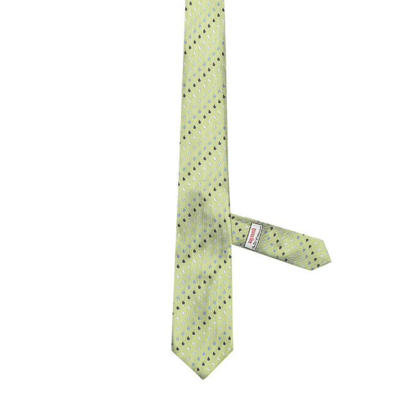 Necktie 100% Silk Regular Green Print