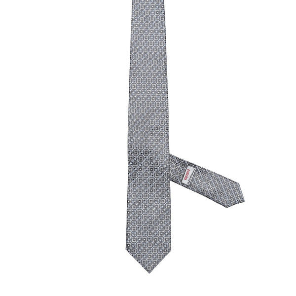 Necktie 100% Silk Regular Grey Print