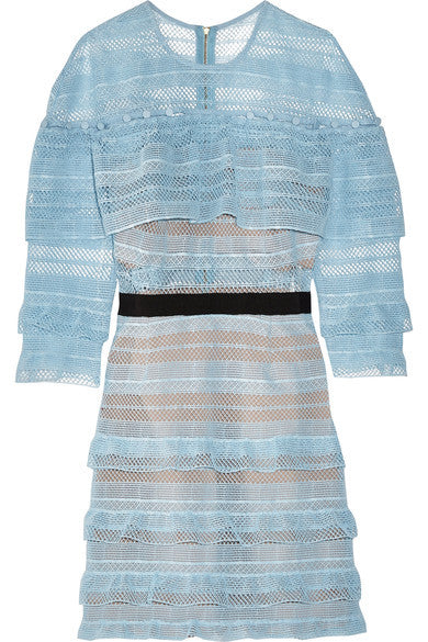 Self-Portrait - Grosgrain-Trimmed Guipure Lace Mini Dress