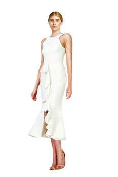 Nicholas - Crepe Asymmetric Ruffle Dress - Ivory- BRAND NEW FOR SALE