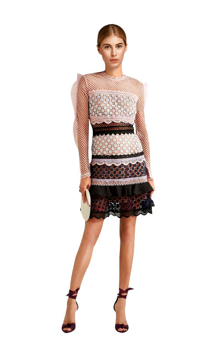 Self-Portrait - Bellis Lace Trim Dress With Frilled Sleeves