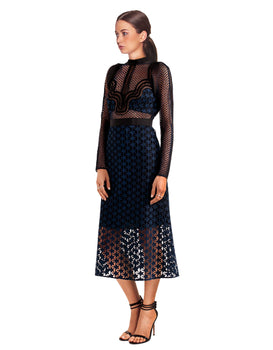 Self-Portrait- Ruffled Georgette-Trimmed Guipure Lace Dress