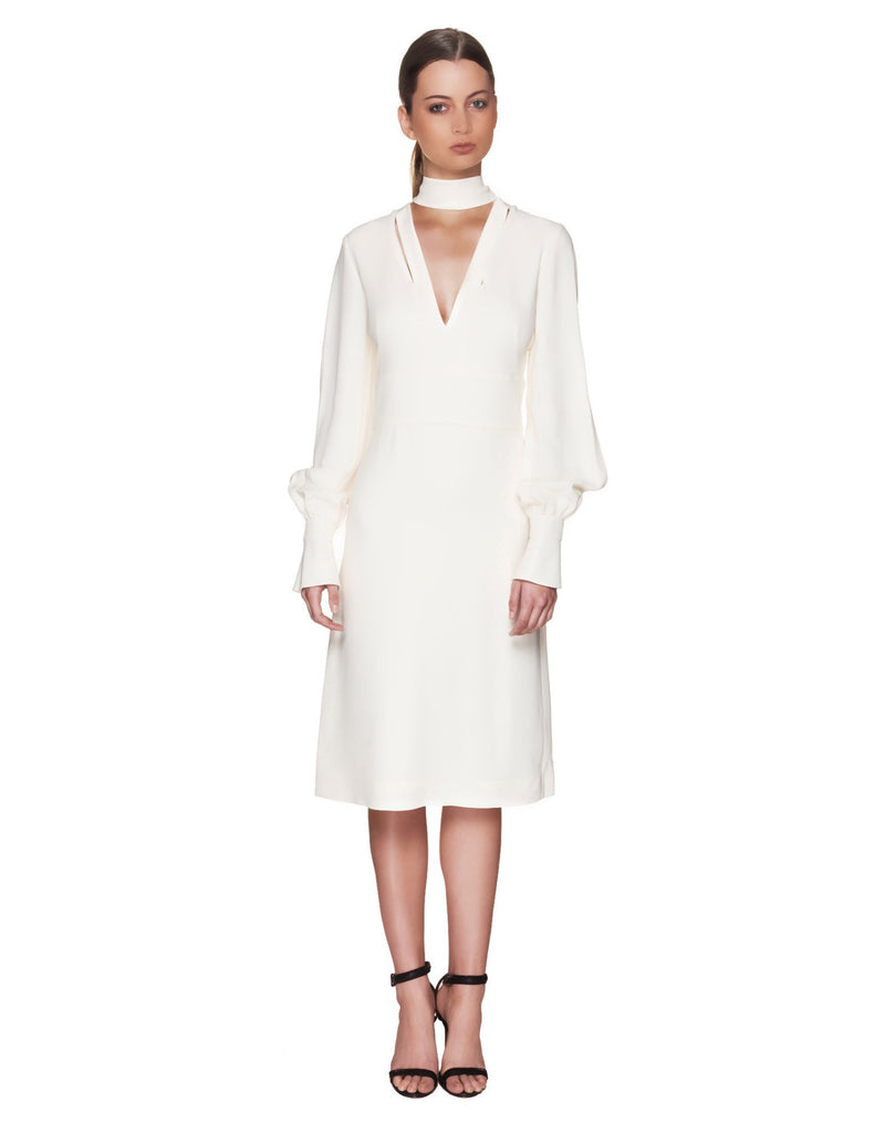 Givenchy - Midi Dress With Neck Tie In Ivory Crepe