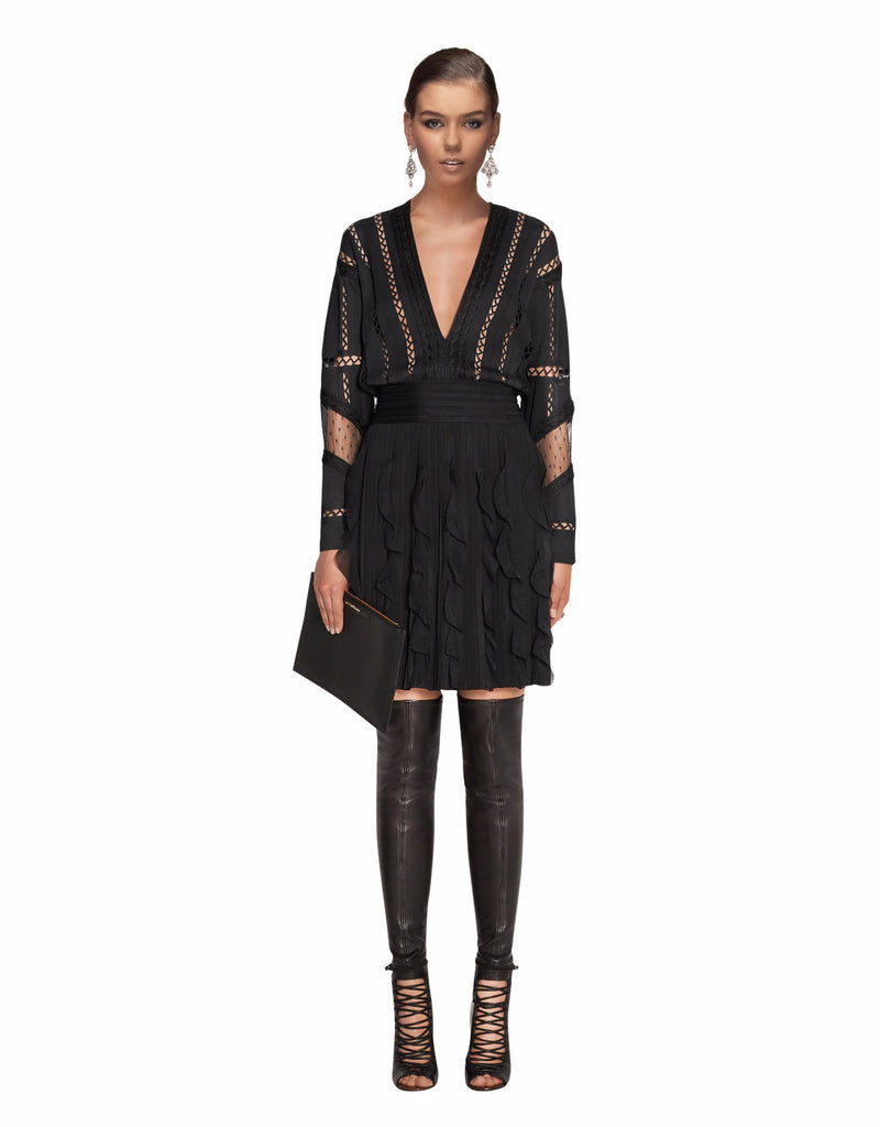 Givenchy - Ruffled Silk Chiffon-Trimmed Jersey Mini Dress
