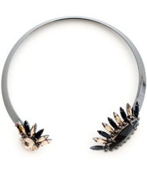 House Of Emmanuele - Crystal Eyes Collar Gunmetal