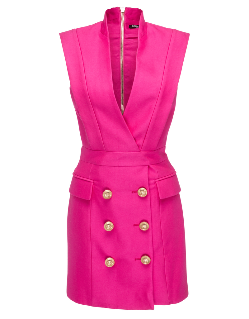 Balmain - Crepe Tuxedo Dress - Pink - I am Finesse - 3