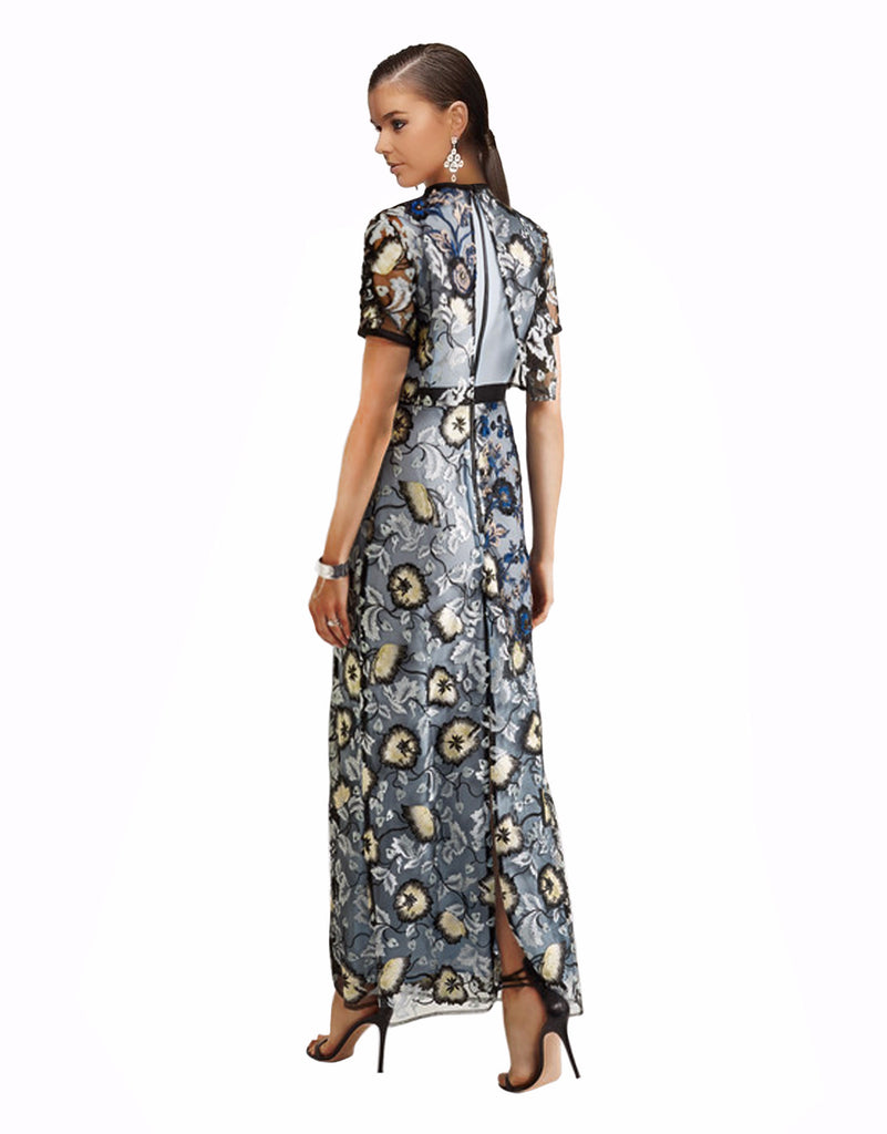 Self-Portrait - Florentine Embroidered Tulle Maxi Dress